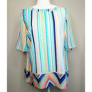 🆕 Chico's Colorful Striped Short Sleeve Blouse